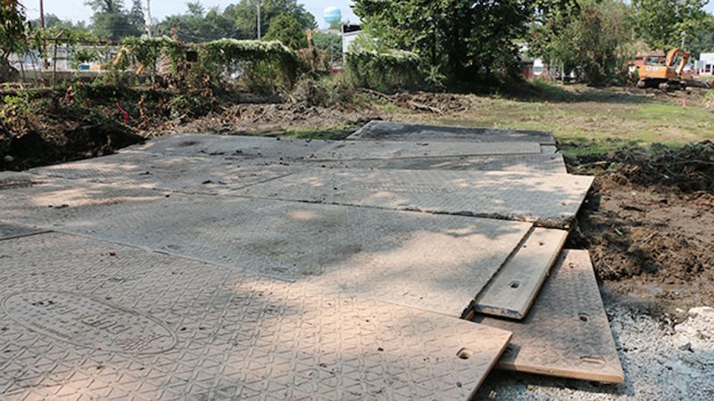 Mabey's temporary road takes shape.