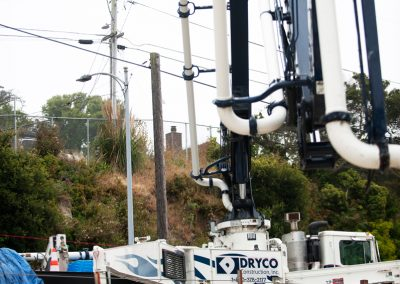 The flexible Z-Fold booms on the 36Z-Meters help operators work around the numerous power lines surrounding the job site.