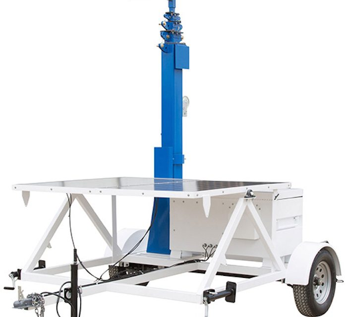 Solar Powered Portable Light Tower on Seven Foot Trailer
