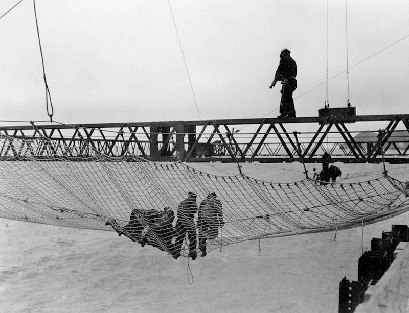 "Safety net placed under the Golden Gate Bridge during construction in the 1930s. Its presence saved 19 lives. These would-be survivors became known as the ""Halfway to Hell Club""."